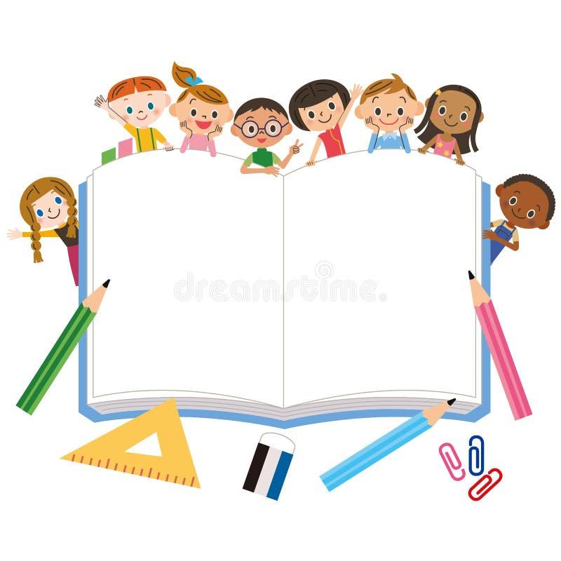 Grands carnet et enfants illustration libre de droits