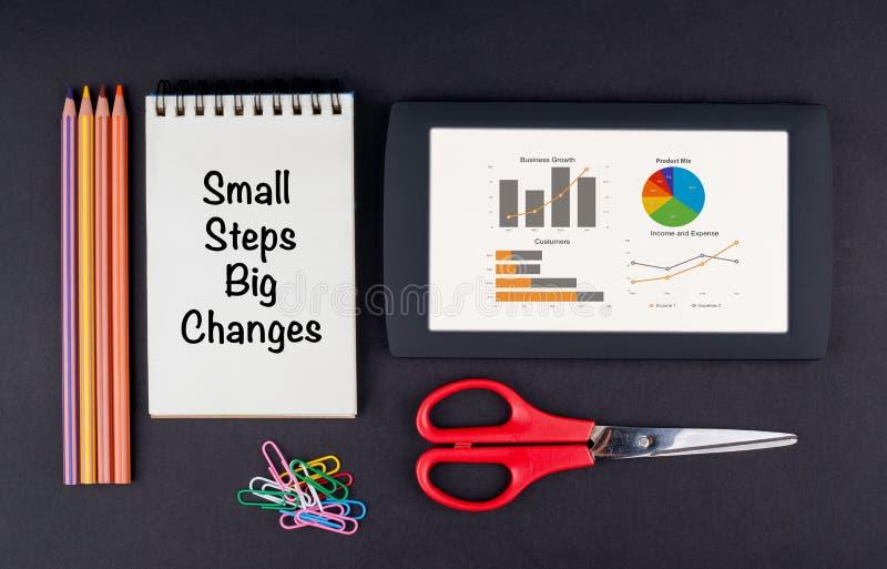 Grands changements de petites étapes Tablette, crayons, ciseaux, trombones images libres de droits