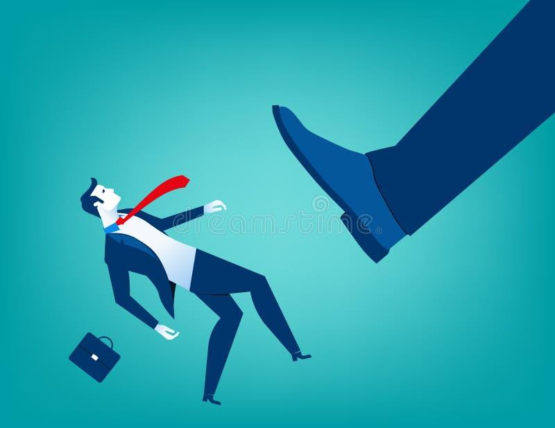 Grands coups de pied de pied d'homme d'affaires petits hommes illustration libre de droits