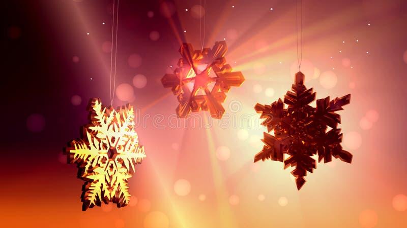 Grands cristaux de neige et flocons flottant, fond abstrait de Noël illustration libre de droits