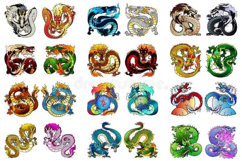 Grands dragon asiatique de coloration de l'ensemble 24 illustration libre de droits