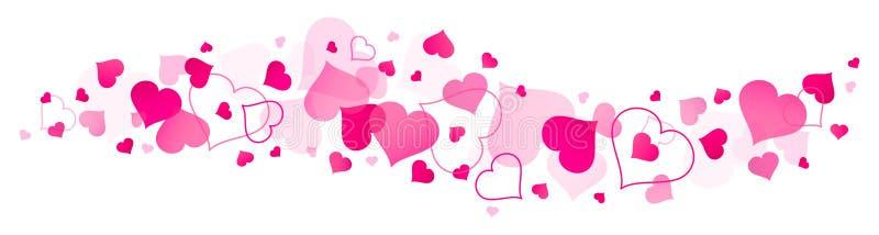 Grands et petits coeurs roses de bannière horizontale illustration libre de droits