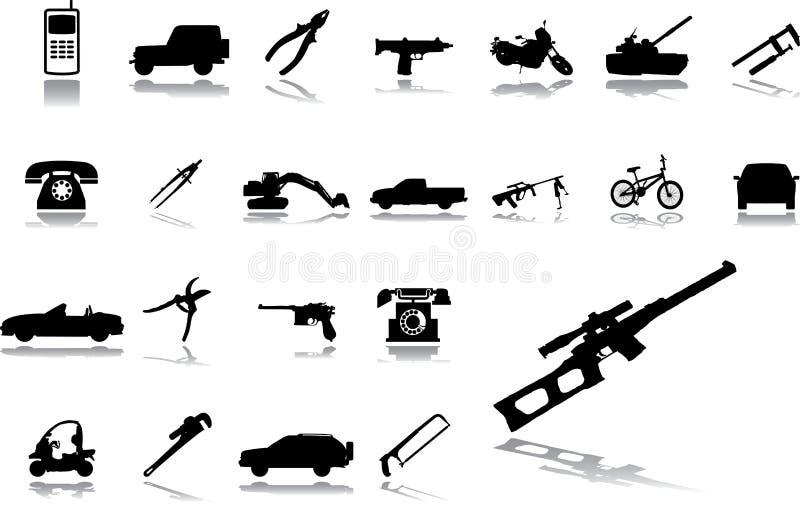 Grands graphismes de positionnement - 15. Machines et technologies illustration stock