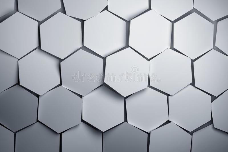 Grands hexagones géométriques blancs de formes aléatoirement disposés illustration de vecteur
