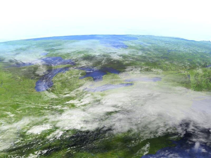 Grands lacs sur le modèle réaliste de la terre illustration libre de droits