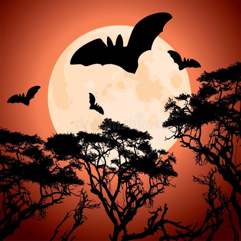 Grands lune, arbres et 'bat' rouges illustration de vecteur