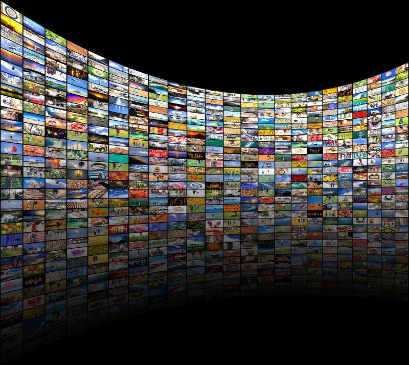 Grands multimédia vidéo et mur d'image illustration de vecteur