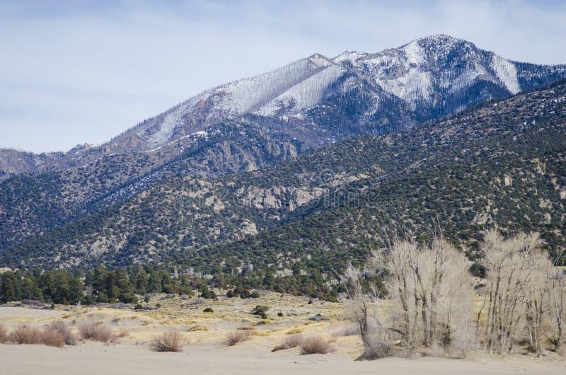 Grands parc national et conserve de dunes de sable avec les crêtes alpines de Sangre de Cristo Mountains photos libres de droits