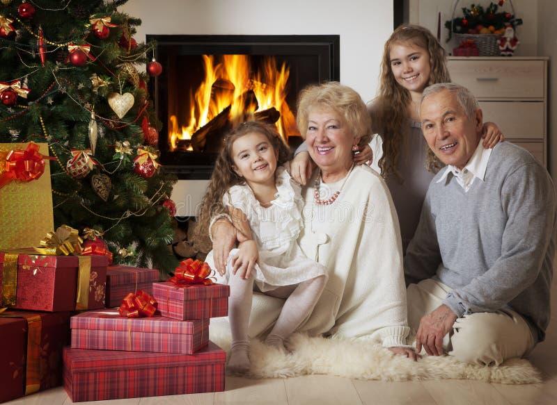 Grands-parents avec des petits-enfants célébrant Noël photos libres de droits