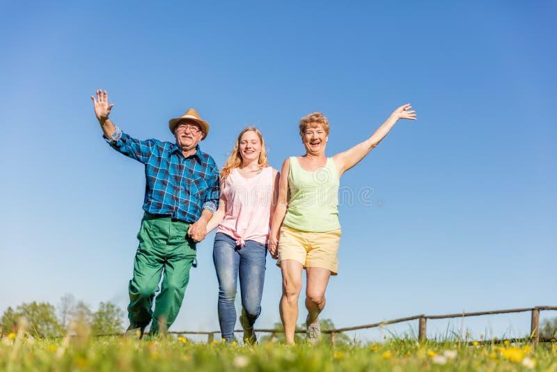Grands-parents avec le fonctionnement de petite-fille heureux sur le champ photos libres de droits