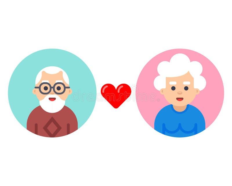 Grands-parents dans une bulle Relations et amour illustration de vecteur