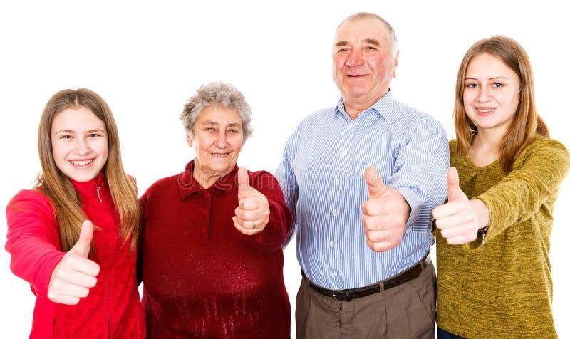 Grands-parents et petite-filles heureux image libre de droits