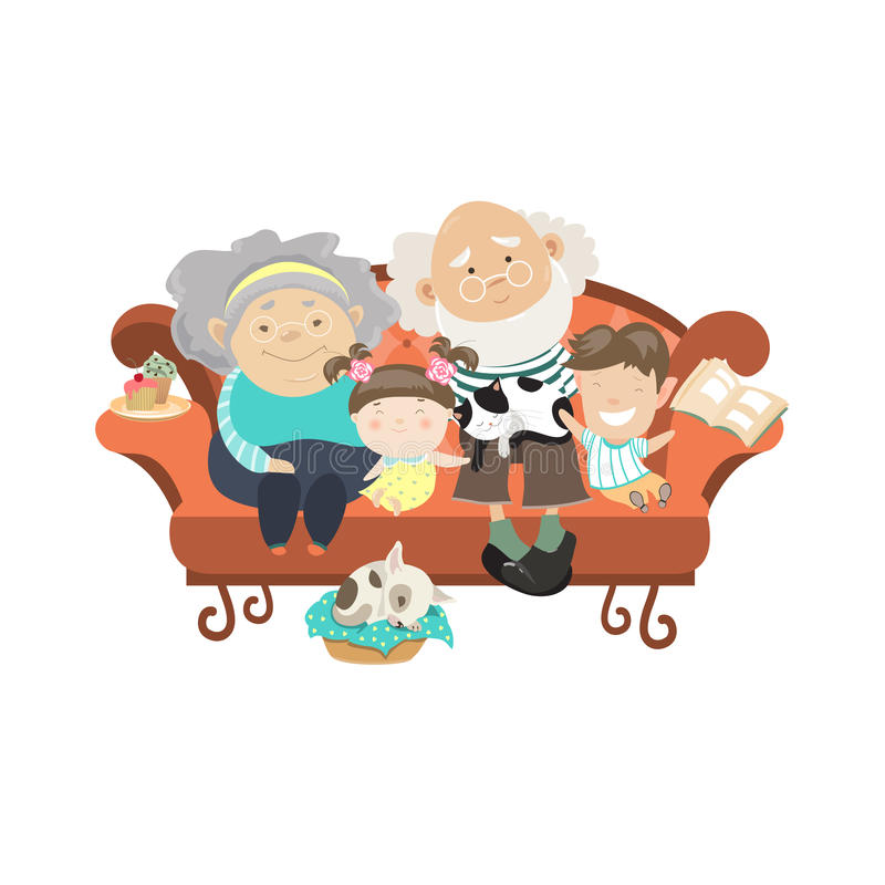 Grands-parents et petits-enfants illustration de vecteur