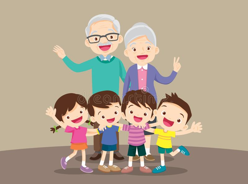 Grands-parents et petits-enfants Groupe de personnes position illustration stock