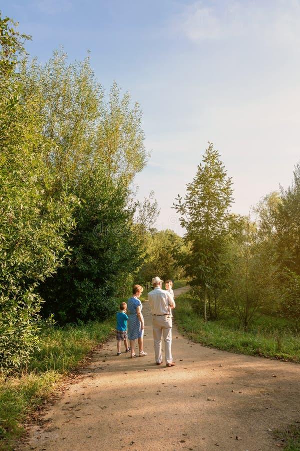 Grands-parents et petits-enfants marchant dehors images libres de droits