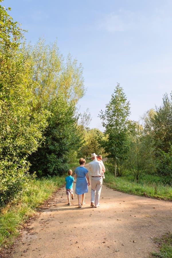 Grands-parents et petits-enfants marchant dehors photo stock