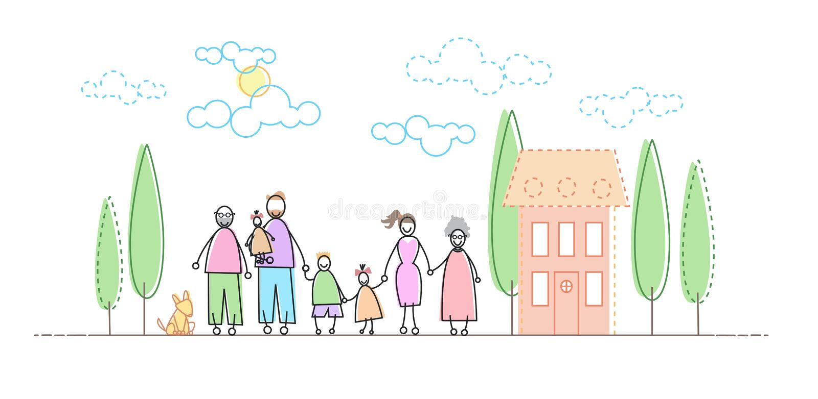 Grands parents grands de Famity trois enfants devant la nouvelle maison illustration libre de droits