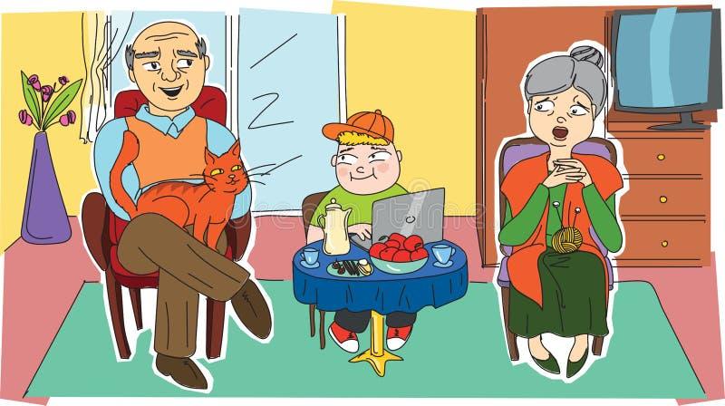Grands-parents heureux et leur petit-enfant image libre de droits