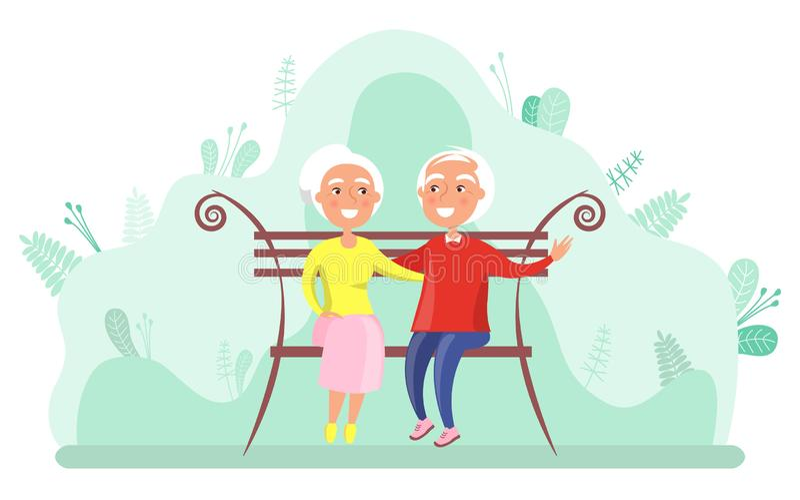 Grands-parents s'asseyant sur le banc, vecteur plus âgé illustration de vecteur