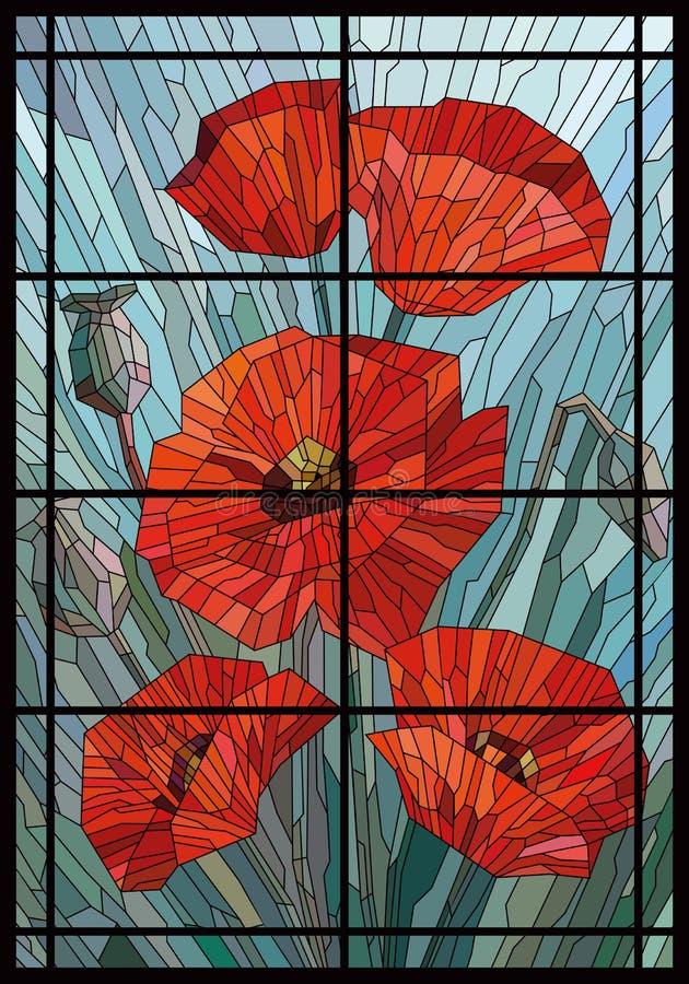 Grands pavots en verre souillés de fleurs sur un fond gris de turquoise dans un cadre géométrique lignes noires illustration libre de droits