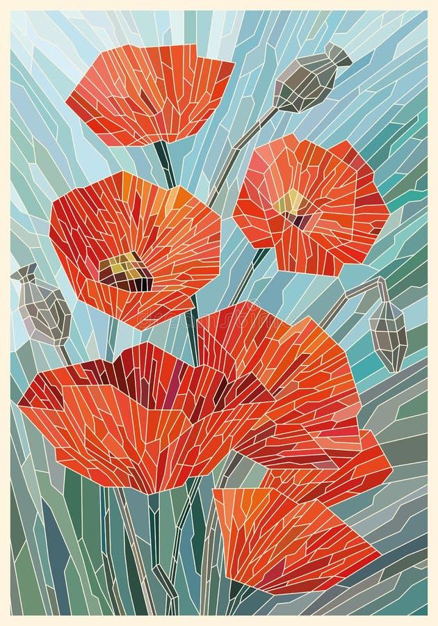 Grands pavots en verre souillés de fleurs sur un fond gris de turquoise Lignes l?g?res illustration stock