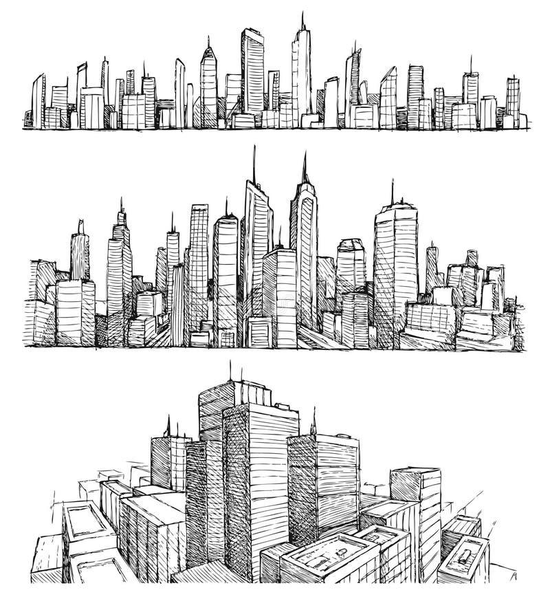 Grands paysages urbains et bâtiments tirés par la main de ville illustration de vecteur