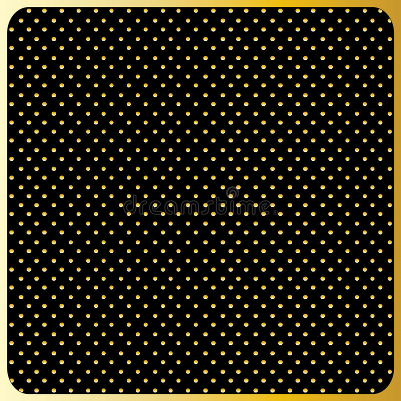 Grands points de polka d'or, fond noir illustration stock