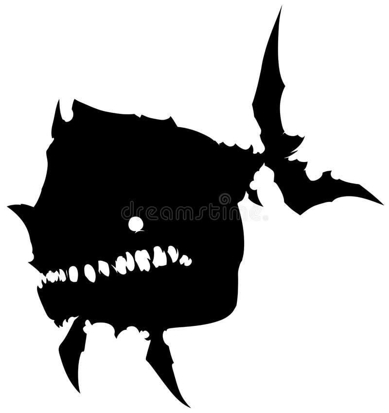 Grands poissons de monstre de silhouette graphique noire illustration libre de droits