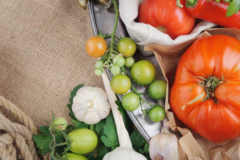 Grands tomate, poivre de piment, ail et verts rouges horizontal image stock