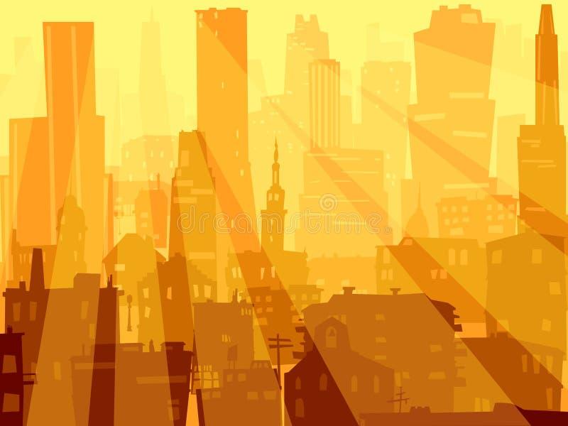Grands ville d'illustration abstraite et rayons de lumière. illustration libre de droits