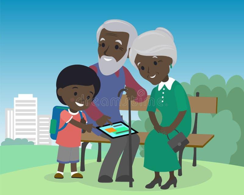 Grandson boy teach grandparents use tablet pc. Seniors elderly learning education modern technology internet african royalty free illustration