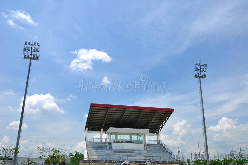 Grandstand. Big grandstand with two spotlight stock photo