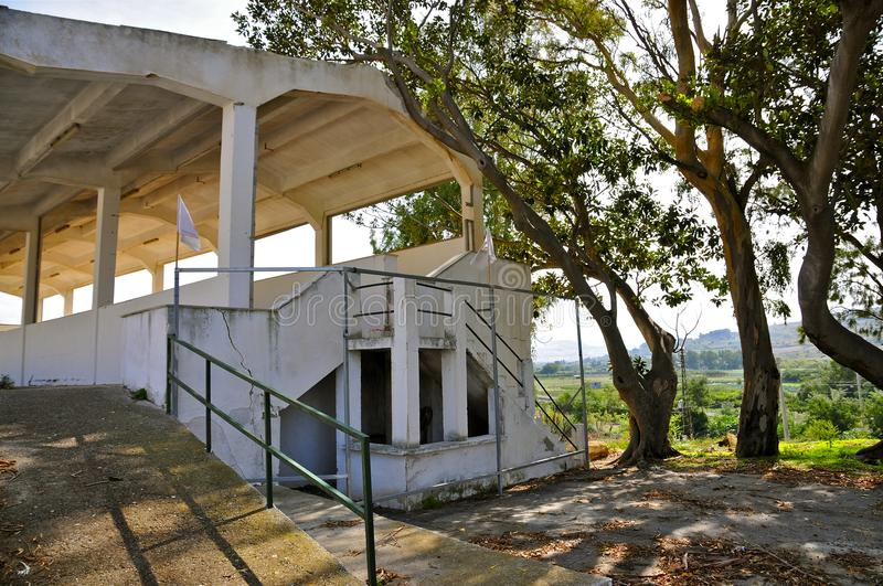 Grandstand Entrance, Floriopolis. Grandstand of the Targa Florio in Cerda, Sicily. The Historic Targa Florio was the oldest Sports Car Racing Event in the World royalty free stock images