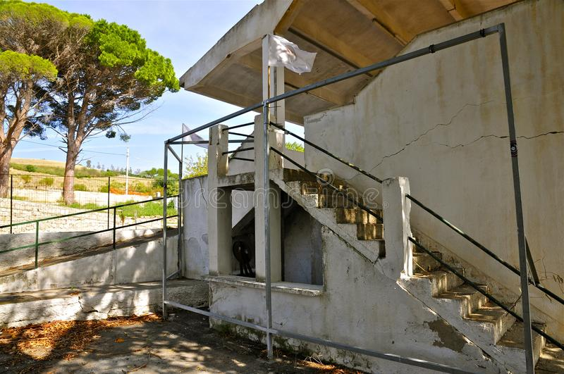 Deserted Racing Complex Grandstand, Floriopolis, Cerda, Sicily. Grandstand Ruins of the Historic Targa Florio Circuit, the oldest Sports Car Racing Event in the stock image