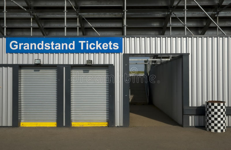 Grandstand tickets. Box office booth for event grandstand tickets royalty free stock image