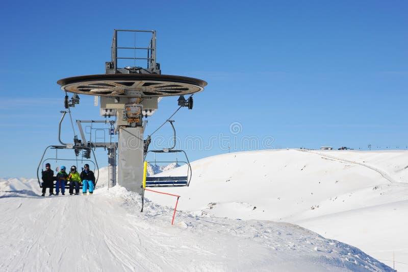 Grandvalira, narciarski dźwignięcie, ksiąstewko Andorra, Europa obrazy stock