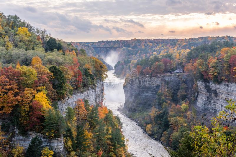 Grandview of the Genesee River Falls. From Grandview the fall colors are spectacular along the waterfalls of the Genesee River in New York`s Letchworth State stock photo