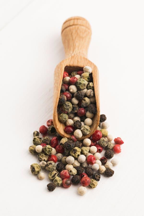 Granelli di pepe verdi, rossi, bianchi e neri misti fotografia stock