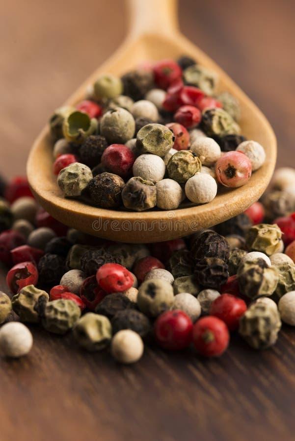 Granelli di pepe verdi, rossi, bianchi e neri misti fotografie stock