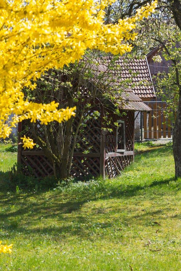 granero abandonado en un jardín de la cabaña en el campo rural del sur foto de archivo