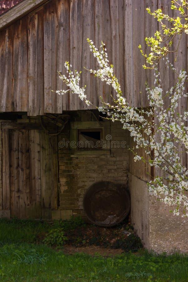 granero abandonado en un jardín de la cabaña en el campo rural del sur imagenes de archivo