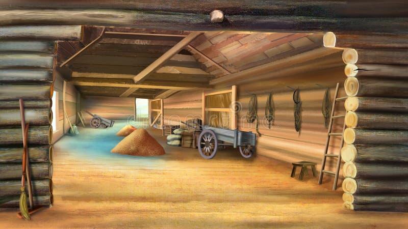 Granero con el grano stock de ilustración