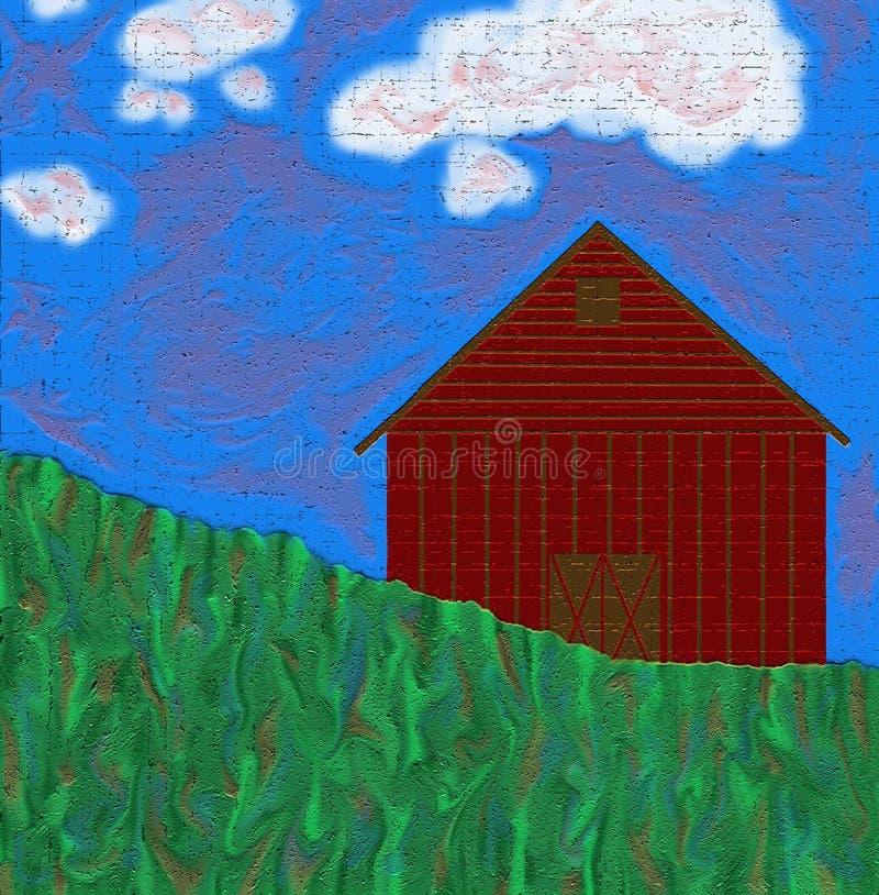 Granero con la hierba y el cielo imagenes de archivo