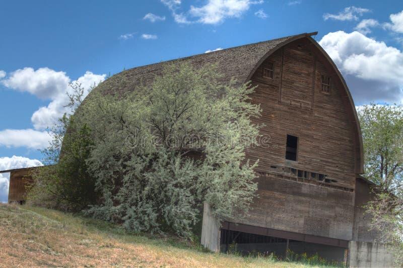 Granero de madera dilapidado abandonado en una colina en Washington fotos de archivo