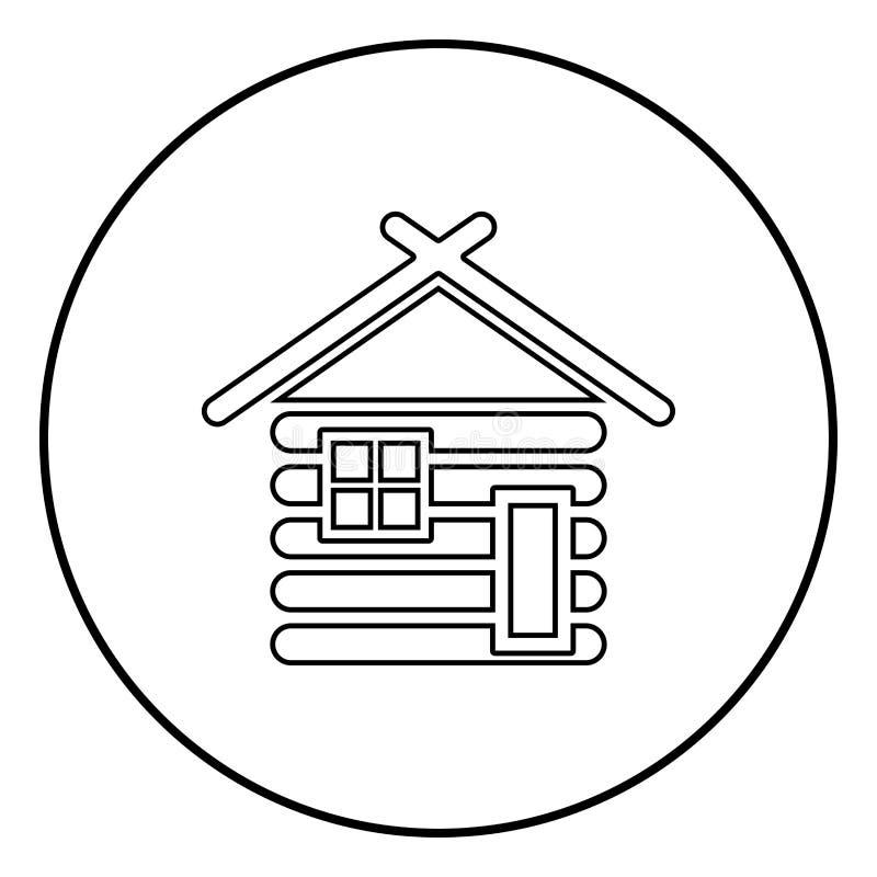 Granero de madera de la casa con el vector de madera del color del negro del esquema del icono de las casas modulares de la cabin ilustración del vector