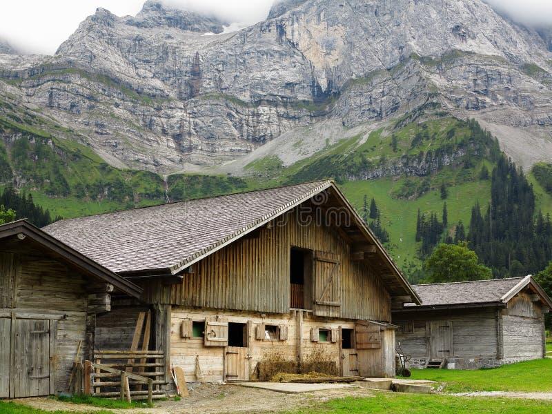 Granero de vaca en paisaje alpino imagenes de archivo
