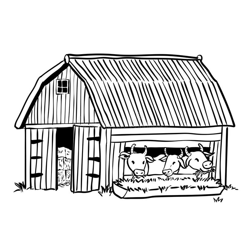 Granero del dibujo de la mano con el ejemplo de tres vaca-vectores ilustración del vector