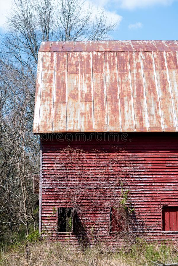 Granero desmantelado rojo en bosque fotos de archivo