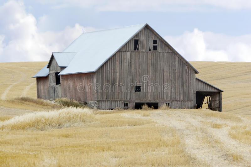Granero en campo de trigo imagenes de archivo