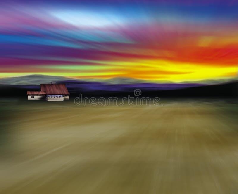 Granero en desierto stock de ilustración